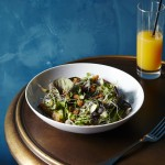 DETOX salad with young lettuces, carrots, sprouts, and apple-lime vinaigrette.