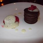 Chocolate gateau with raspberry sorbet